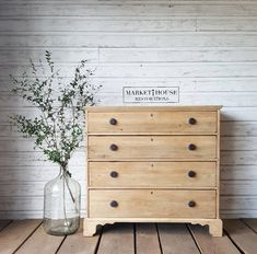 How to get this look! Raw wood dresser makeover from Market House Restorations. Painted furniture. Pottery Barn modern farmhouse style. #MondayMakeoversWithFallon