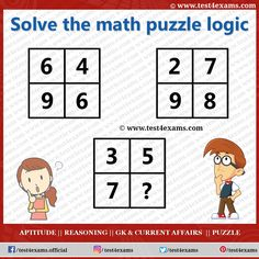 The Brain Teaser Math Puzzle is a very challenging Brain game. The free online practice of Math Puzzles and Riddles problems with solutions for all exams. Math Logic Puzzles, Brain Teaser Puzzles, Number Puzzles, Aptitude And Reasoning, Question And Answer, This Or That Questions, Play Quiz, Picture Puzzles, Online Tests