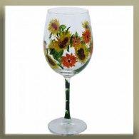 Sunflower and Gerbara Daisy Hand Painted Wine Glass