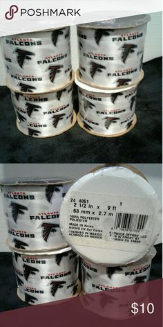 Atlanta Falcon decorations ribbons 4 rolls of Atlanta Falcon decorations ribbons. Great  for any football fan to have when decorating a football party, gift wrap and more. Great multi purpose ribbon. Each roll is 2 1/2 in x 9 ft. NFL Other