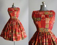 Vintage 1950s vestido años 50 algodón por TuesdayRoseVintage
