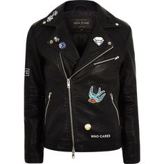 River Island Black faux leather badged biker jacket ($105) ❤ liked on Polyvore featuring men's fashion, men's clothing, men's outerwear, men's jackets, jackets, mens studded jacket, mens fake leather jacket, mens faux leather jacket, mens faux leather moto jacket and mens faux leather motorcycle jacket