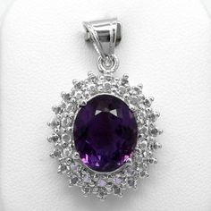 10.40 Carat Natural Rich Purple Amethyst Pendant With Topaz in 925 Silver #Multajewelry #SolitairewithAccents