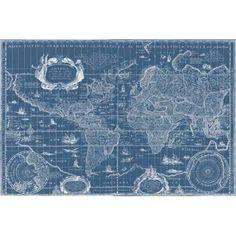 Blueprint World Map Canvas Art - Willem Blaeu (24 x 36)
