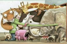 Animals and Human in one big Hug                Art by Roger Olmos