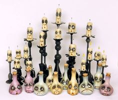miniature haunted house candles & bottles