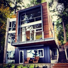 Modern construction utilizing steel glass and wood