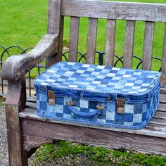 No Sew patchwork denim suitcase