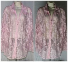 Pink Lace Blouse Top 22W 24W Sheer Sexy Plus Size B29  #sexy #plussize #pink #lace