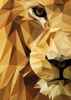 Lion illustration created as a personal project.This low-poly features triangles to make up the entire image. Animal Paintings, Animal Drawings, Art Drawings, Drawing Faces, Geometric Lion Wallpaper, Lion Illustration, Art Illustrations, Geometric Artists, Polygon Art