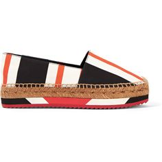 Dolce & Gabbana Striped canvas espadrilles ($475) ❤ liked on Polyvore featuring shoes, sandals, flats, orange, flats sandals, slip on shoes, orange flats, orange flat shoes and striped flats