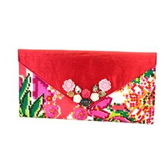 Rich-Pink-Cotton-Raw-Silk-Stones-Printed-Flower-Design-Women-hand-Made-Clutch