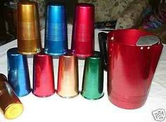 "Flag item for content or copyright HOME > WORTHOPEDIA™ > METALS > 9PC VINTAGE ANODIZED ALUMINUM TUMBLERS/PITCHER 50'S 9PC VINTAGE ANODIZED ALUMINUM TUMBLERS/PITCHER 50'S SOLD FOR: Start Free Trial or Sign In to see what it's worth. ITEM CATEGORY:Metals SOURCE:eBay SOLD DATE:Jul 30,2008 CHANNEL:Online Auction Vintage Anodized Aluminum Tumblers & Pitcher - Both the Tumblers and the Pitcher have a ribbed design - 2 Red, Green, 2 Blue, 2 Gold & Bronze Tumblers - Tumblers are marked ""Steelmasters…"