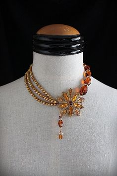 GOLDEN GLOW Repurposed Vintage Jewelry Pearl Crystal Statement Necklace