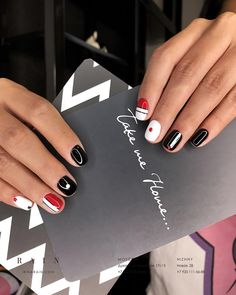 Black red white nails