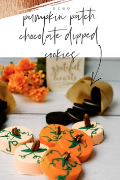 OREO pumpkin patch chocolate dipped cookies, the perfect fall dessert that's easy and fun! #fall #cookierecipe #recipe #dessertrecipes #desserts #falldesserts Chocolate Dipped Cookies, Chocolate Candy Melts, Melting Chocolate Chips, Chocolate Shop, Easy Halloween Crafts, Halloween Desserts, Fall Desserts, Sweets Recipes, Fall Recipes