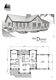 The Dover  www.hiawatha.com Log Home Floor Plans, House Plans, Sims, Log Homes, Cabins, Townhouse, Custom Design, Deck, Flooring