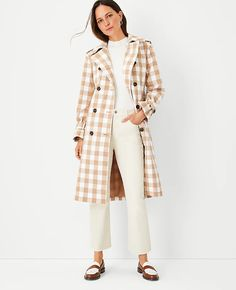 Checked Oversized Trench Coat   Ann Taylor Dressy Casual Outfits, Trench, Ann Taylor, Duster Coat, Dressing, Jackets, Check, Fashion, Down Jackets
