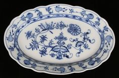 Meissen porcelain blue onion serving platter.