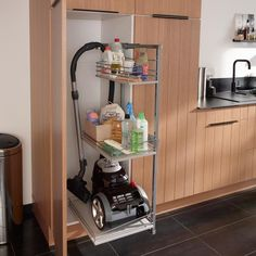 Utility closet ideas: roll out shelves for easy access to canister vac & cleaning supplies. Cleaning Supply Storage, Vacuum Storage, Cleaning Closet, Cleaning Supplies, Broom Closet Organizer, Closet Storage, Kitchen Storage, Utility Cabinets, Utility Closet
