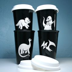 This reusable brontosaurus dinosaur travel coffee cup comes in black or java brown. The double-walled ceramic keeps your coffee hot, and your hands cool. Ceramic travel coffee mugs - - dishwasher-safe