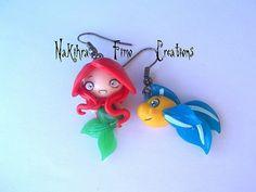 Mermaid Ariel + Flounder Polimer Clay Earrings