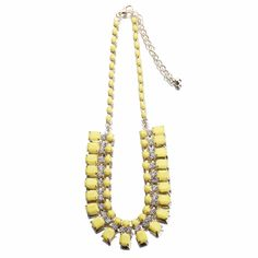 Yellow Fashion Rhinestone Square Beads Bib Statement Choker Necklace