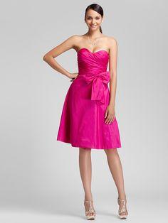 demoiselle d'honneur longueur genou robe de taffetas une ligne de robe chérie - EUR €69.99