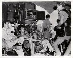 Stanley Kubrick, Tony Curtis, Kirk Douglas on the set of SPARTACUS