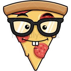 Nerdy Pizza Emoji: Royalty-free stock vector illustration of a toothy pizza emoji with pepperoni and cheese topping, wearing geeky glasses and a subtle smile on its face. Pizza Emoji, Pizza Ranch, Small Drawings, Vector Clipart, Emoticon, Pepperoni, Nerdy, Leo, Clip Art
