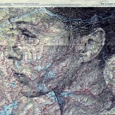 In an intriguing blend of cartography and illustration, UK artist Ed Fairburn uses maps as his canvases for stunning ink and pencil portraits. Faces are fr Ed Fairburn, Map Canvas, Colossal Art, Montage Photo, English Artists, Illustration, Vintage Maps, Art Plastique, Art Studios