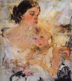 Миссис Фешина с дочерью (1922). Николай Фешин