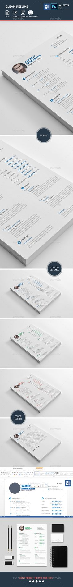 Clean Resume Template PSD, MS Word. Download here: http://graphicriver.net/item/clean-resume-templates/15998664?ref=ksioks
