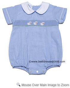 Petit Bebe by Anavini Infant Baby Boys Blue Micro Check Bubble - Smocked Easter Sheep