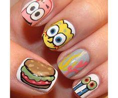 Sponge Bob finger nail art.