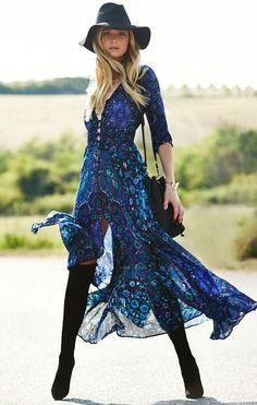 """Boho Maxi Dress Navy Blue Floral """"Kiss The Sky"""" Long Flowing Summer Gown Button Front Long Slit 3/4 Sleeves Royal Blue Turquoise Lavender Print Small Medium Large Or Extra Large"""