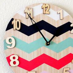 Unique Wall Clock Home and Living Decor by Shannybeebo on Etsy Chevron Wall Art, Chevron Curtains, Unique Wall Clocks, Cute Crafts, My New Room, Girl Room, Home And Living, Crafty, Diy Decorating