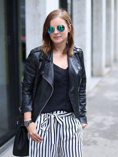 streifen culotte mit lederjacke und metallic sneaker, outfit, lifestyleblog, amigaprincess