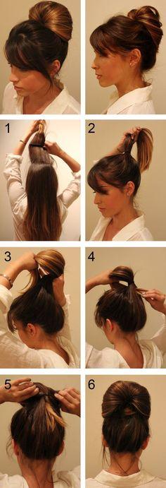 Inside out pony tail long hair updo braids diy hair diy bun hairstyles hair tutorials easy hairstyles