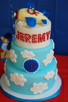 Airplane Themed First Birthday three tiered birthday cake with fondant/rkt edible topper Gorgeous Cakes, Amazing Cakes, Airplane Birthday Cakes, Airplane Cakes, Fondant Cakes, Cupcake Cakes, Cupcakes, Three Tier Cake, Fairy Cakes