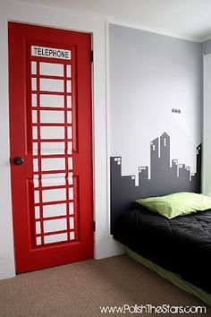 Superhero Bedroom (telephone booth closet door) this looks like V Bedroom Themes, Kids Bedroom, Bedroom Decor, London Theme Bedrooms, Trendy Bedroom, Bedroom Styles, Bedroom Designs, Bedroom Furniture, Bedroom Ideas