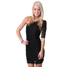 one shouldered lace dress