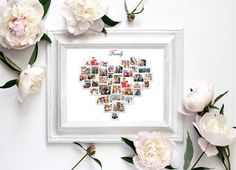 Home :: Gifts :: By Category :: Personalised Gifts :: Personalized Heart Photo Collage - Birthday - Wedding Anniversary- Valentine's Day - Love