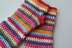 Colorful Stripey Fingerless Mitts Pattern... now I just need to learn to crochet.