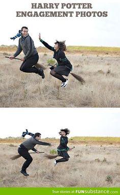 Engagement photos, Harry Potter style - FunSubstance.com