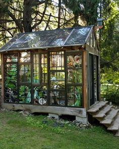 Window greenhouse welcome to the cabin friends fun she shed conversion ideas Old Window Greenhouse, Backyard Greenhouse, Small Greenhouse, Greenhouse Plans, Backyard Landscaping, Portable Greenhouse, Greenhouse Wedding, Pallet Greenhouse, Backyard Ideas