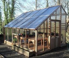 South-facing angled glass can create too much heat in the summer - great spot to collect in panels. Winter sun is low in the sky, comes through low glass wall. North wall is larger. to get as much light as possible in winter and summer. #solar #greenhouse