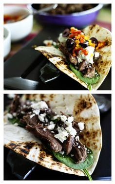 Slow Cooker Garlicky Lamb Greek Tacos from Foodie with Family; sounds like a great idea for a #SlowCookerSummerDinner! [via Slow Cooker from Scratch] #SlowCooker #CrockPot #Lamb #Tacos
