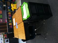 Love this, it has helped cut down supply time in my classroom! All supplies are stored in the drawers. Each group of desks has their own supply tower! Top drawer has blank paper and the top I velcro'd a basket to turn in their work.