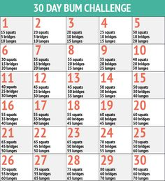 30 Day Bum Fitness Challenge Chart